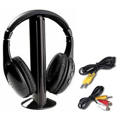 5 In 1 Wireless Cordless Rf Headphones Headset With Mic