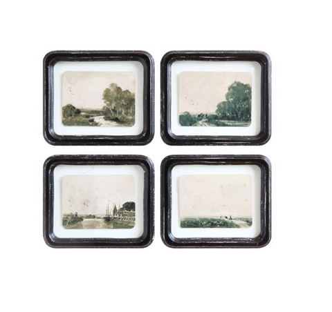 Framed Floating Antiqued Landscape, Sold Individually
