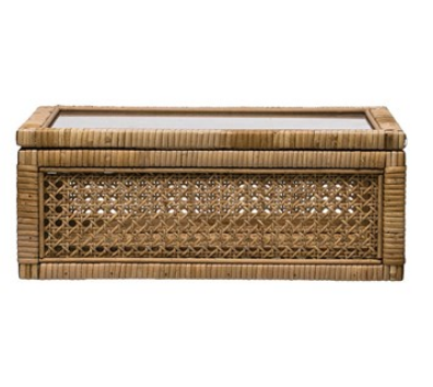 Large Woven Rattan & Wood Display Box with Glass Lid