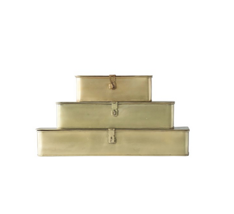 Large Decorative Metal Box, Brass Finish