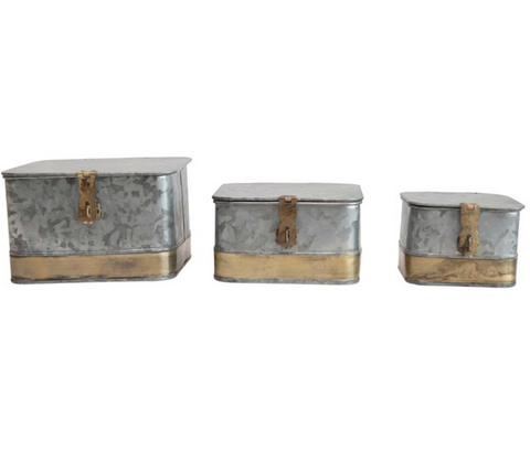 Large Decorative Galvanized Metal Boxes, Brass Trim