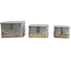 Small Decorative Galvanized Metal Boxes, Brass Trim