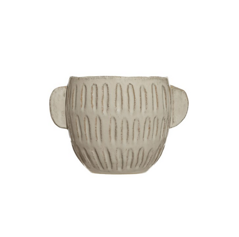 Embossed Stoneware Planter, Reactive Glaze, White