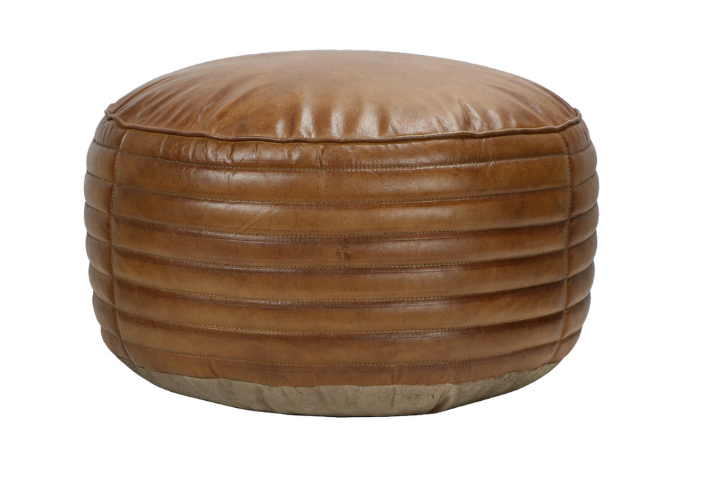 Leather Footstool, Round