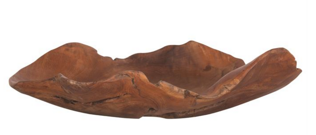 Hand-Carved Teak Wood Bowl