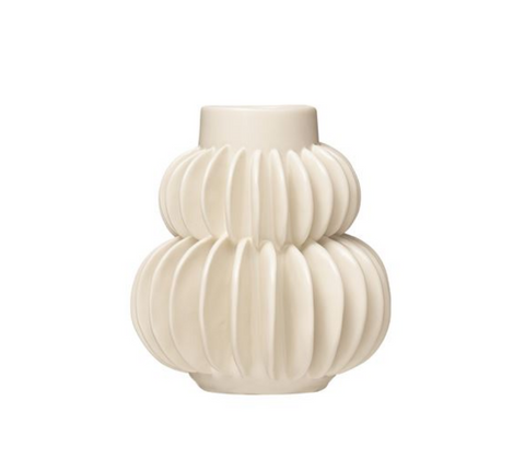 Handmade Pleated Stoneware Vase, White