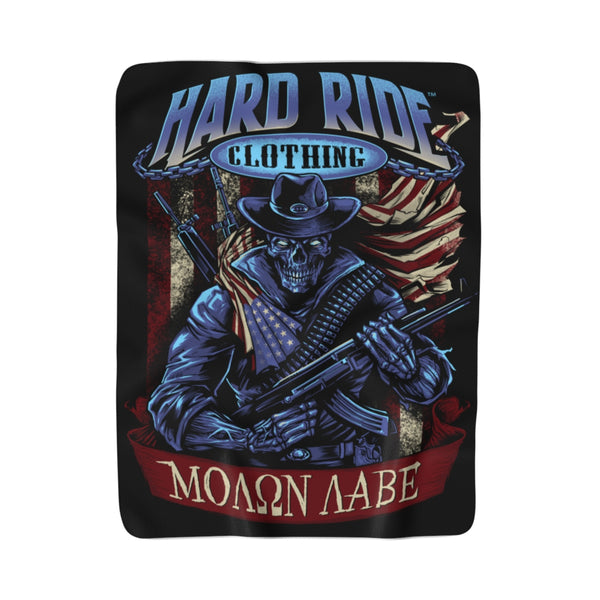 Hard Ride Clothing Molon Labe Patriot Sherpa Fleece Blanket