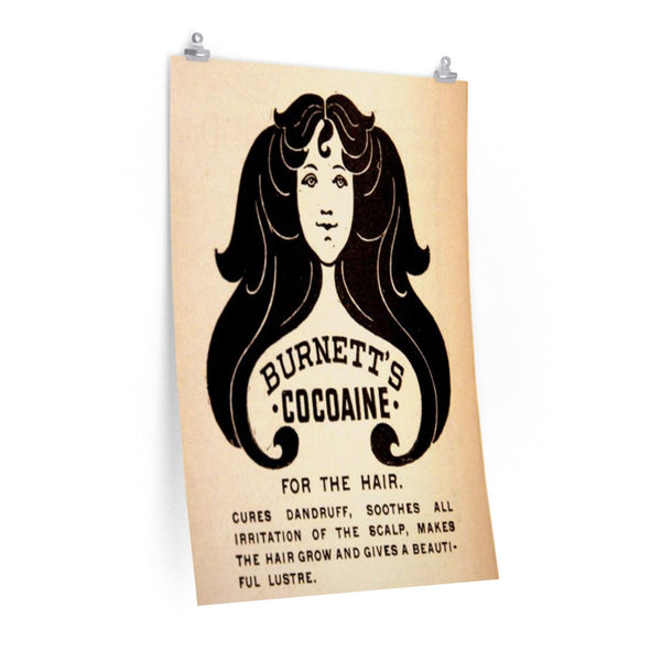 """Burnette's Cocaine for the Hair"" Vintage Cocaine Ad Poster"