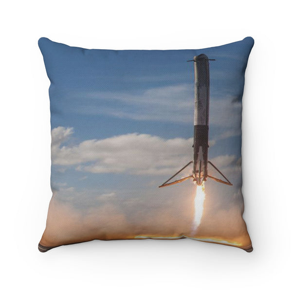 Falcon Heavy Demo Landing-Courtesy of Space X-Spun Polyester Square Pillow