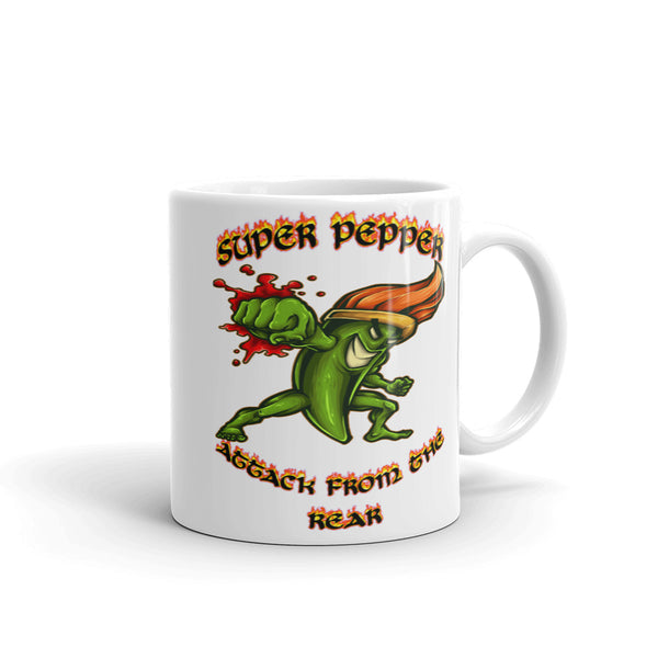""" Super Pepper, Attack from the Rear"" Mug"
