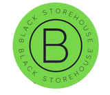 circle black and green black storehouse logo with b inside the inner circle