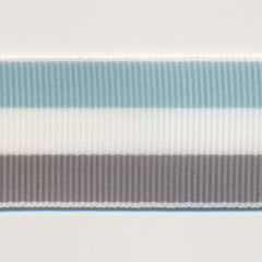 Stripe Grosgrain Ribbon  #26 Canal Bule & White & Brushed Nickel