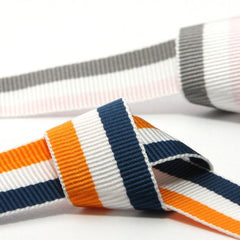 Stripe Grosgrain Ribbon  #16 Smoke Blue & Peacoat