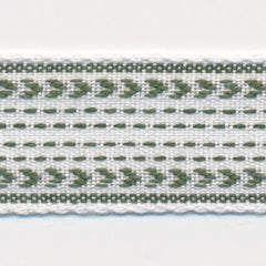 Classic Stitch Ribbon  #4 White & Bayberry