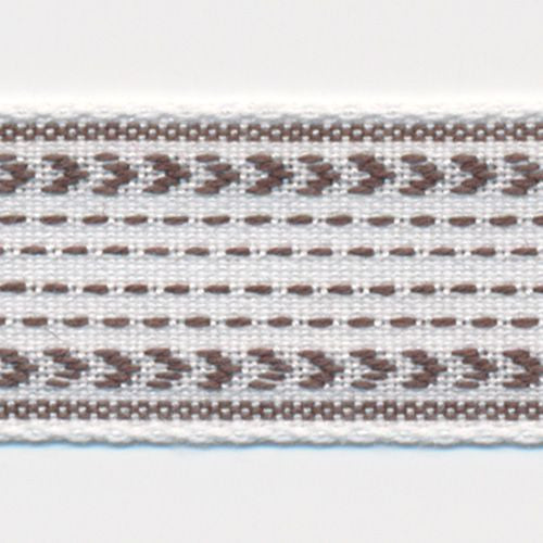 Classic Stitch Ribbon  #6 White & Turkish Coffee