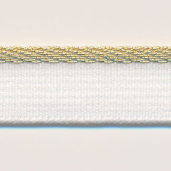 Metallic Stretch Piping  #2 White & Gold