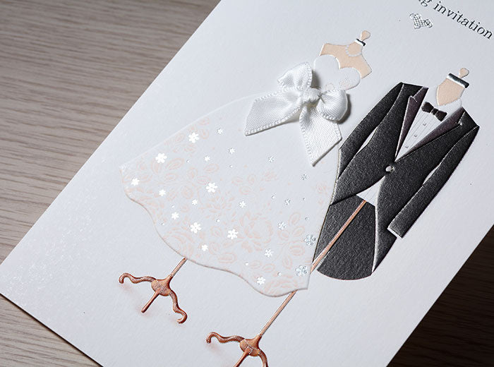 White Ribbon Dress and Tuxedo Wedding Invitations | ItsInvitation