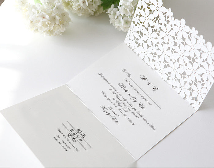 White Embossed Floral Lace Wedding Invitations BH 4119 – Embossed Wedding Invitations