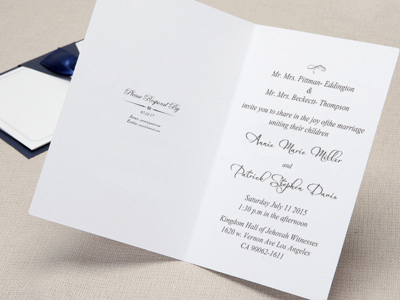 Silver buckle Blue satin ribbon layered wedding invitations - GM 211 ...