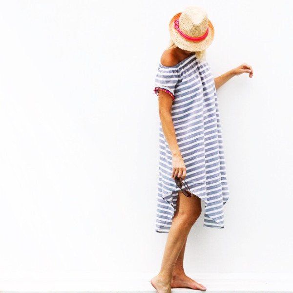 Mar Dress -Cabana Stripe Navy Rio Trim