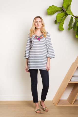 Pacific Tunic - Cabana Stripe Navy_Rio Collar