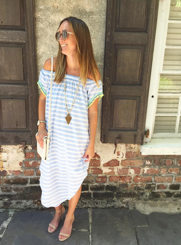 Mar Dress - Cabana Stripe Sky