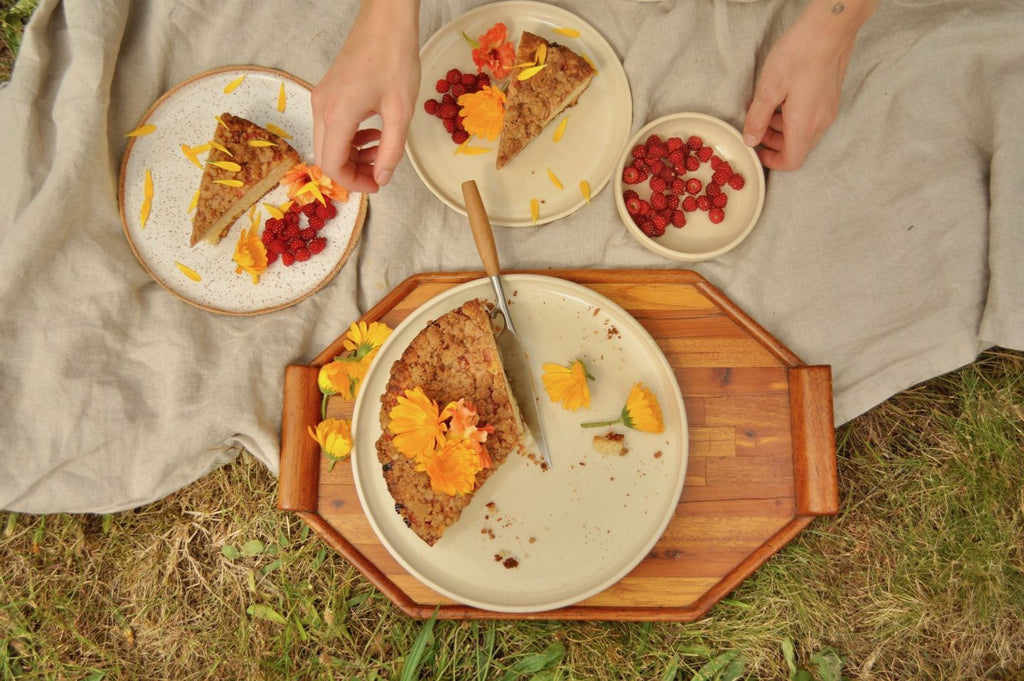 coffee cake on a blanket in the grass