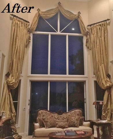 Arched_window_treatment_solutions-huge_windows-silk_taffeta_drapery_panels-swags-curtains-living_room_decor-reilly_chance_collection