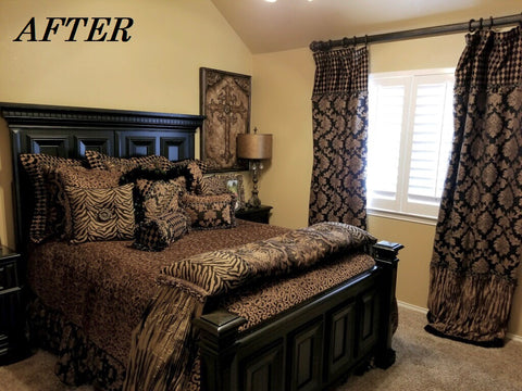Guest_bedroom_makeover-Old_world_decor-designer_bedding_designer_drapes-beautiful_curtains-leopard_print_bedding-reilly_chance_collection