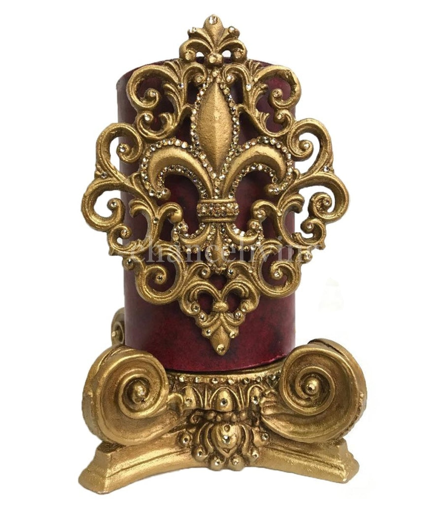 Decorative Candle 6X9 Jeweled Fleur De Lis Scroll On Capital Base Candle/base Combination