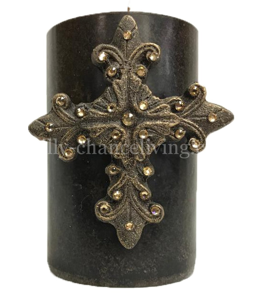 Decorative Candle With Swarovski Jeweled Fancy Cross 4X6 Candles