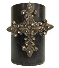 Decorative Candle with Swarovski Jeweled Fancy Cross 4x6