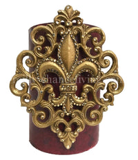 Decorative Candle 6x9 Fleur de lis Scroll