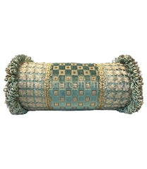 Decorative Blue Bolster With Medallion Pillow
