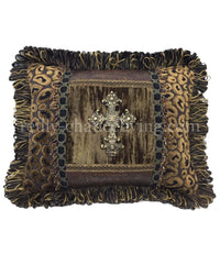 Leopard Accent Pillow with Jeweled Cross 14x18