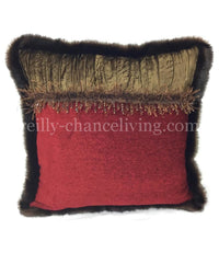 Accent Pillow Red Chenille with Brown Velvet 17x17