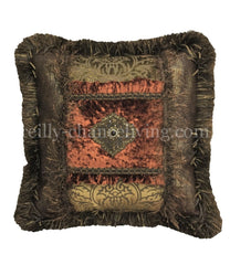 Old World Decorative Accent Pillow Faux Croc And Rust Velvet 18X18