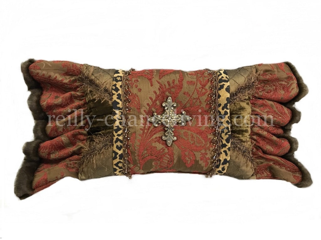 Decorative Pillow Red With Leopard Accent And Jeweled Cross (19X13 Not Incl. Ruffle)