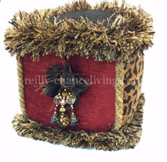 Accent_pillow-red_chenille-Cube_shape-animal_print-brush_fringe-beads-reilly_chance_collection