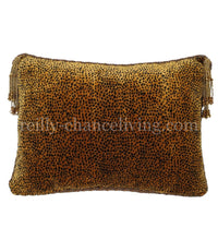 Accent Pillow Velvet Cheetah Beaded Tassels 17