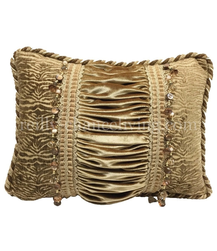 Designer Accent Pillow Champagne Gold Rectangle 17x13 Reilly Chance Collection