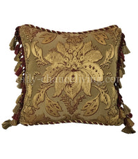 Accent Pillow Gold and Burgundy Damask Majesty