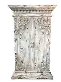 Bristol Peruvian Hand Crafted Wood Armoire Vintage White Finish FREE SHIPPING