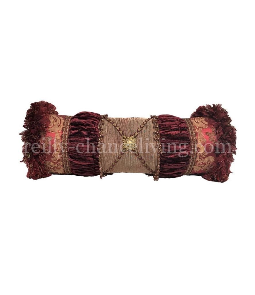 Opulent Bolster Pillow Burgundy And Gold