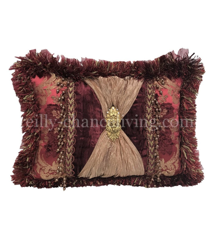 Opulent Accent Pillow Burgundy And Gold