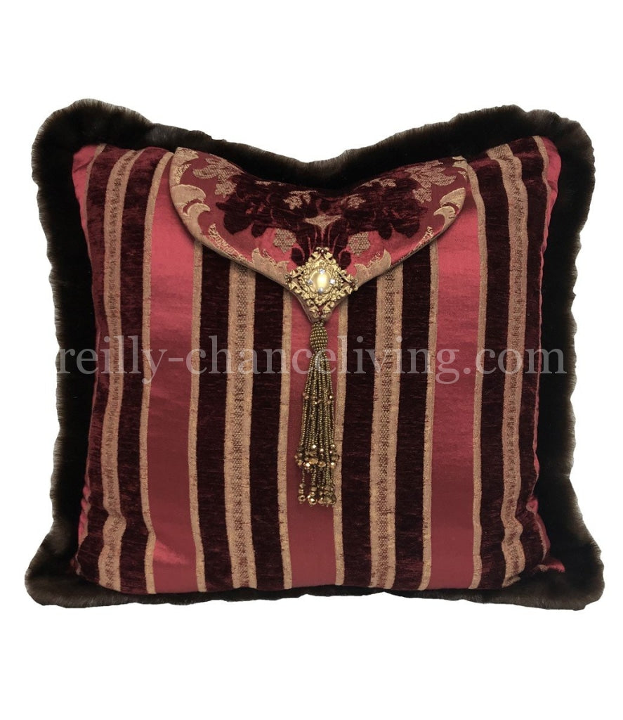 Designer Decorative Square Pillow Burgundy And Gold