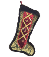 Christmas Stocking Red and Green Velvet with Crowns
