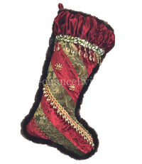 Christmas Stocking Pieced Red and Green Velvet