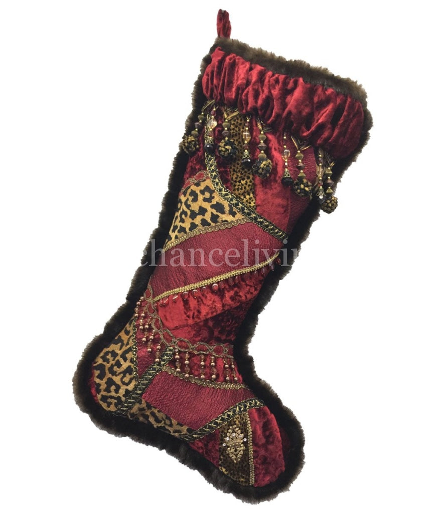 Christmas Stocking Red Velvet Leopard Print Pieced Stockings