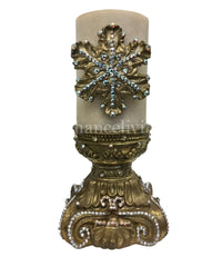 Christmas Candle Jeweled 'Acanthus' Snowflake 4x6 Jeweled Candle holder
